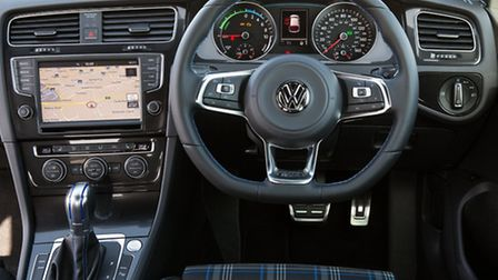 The interior is sporty too