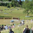The crowds watching the thrills and spills of the cross country phase at the Festival of British Eve