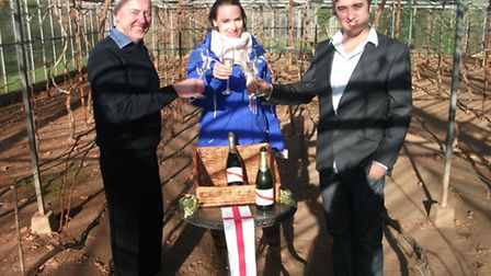 Strawberry Hill's vineyard owner Tim Chance, with manager Oliver Chance, and Sky News journalist, Is