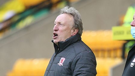 Middlesbrough Manager Neil Warnock during the Sky Bet Championship match at Carrow Road, Norwich