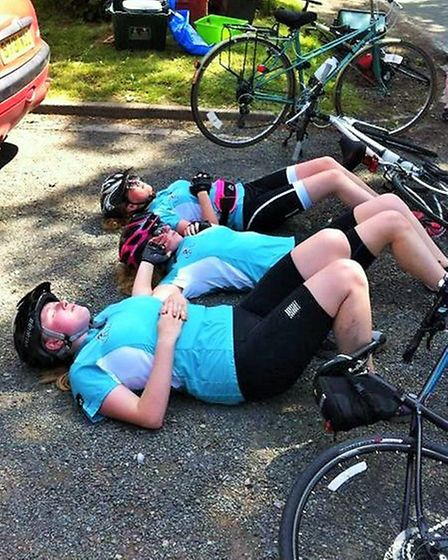 Students resting after annual charity bike ride