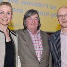 Gillian Edwards from the North West Air Ambulance, celebrity host Mike Melody and quizmaster Graham
