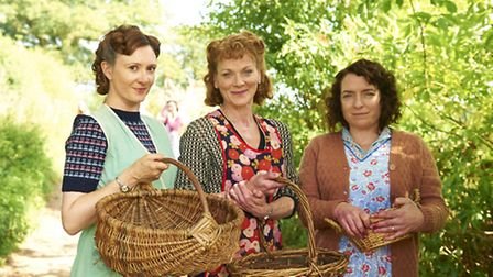 Frances Grey as Erica Campbell, Claire Rushbrook as Pat Simms, and Samantha Bond as Frances Barden.