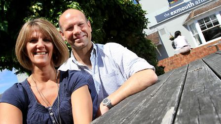 Georgina and Mike Huysinger, owners of The Exmouth in Bath Road, The Strand on The High Street and