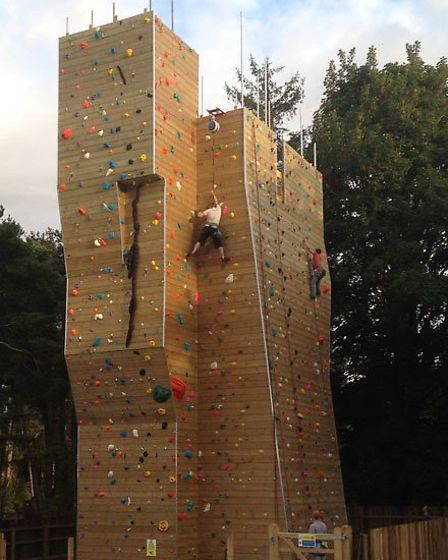 The outdoor climbing tower at Far Peak