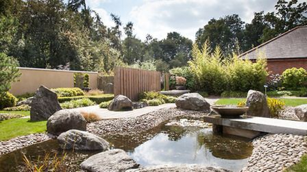 The water feature in the Healing Garden