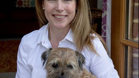 Cathy Court with Polly the border terrier