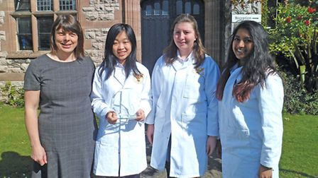Miss Frencham with pupils Xiao Ma, Elin Wynne, Caitlin Pierce