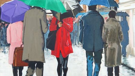 St Albans people in the rain