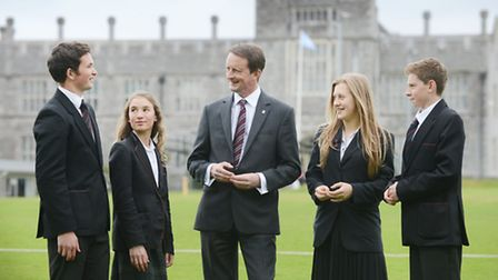 Headmaster Jonathan Standen with students at Plymouth College