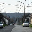 An empty street in the small town of Petrinja, some 60 kilometers southeast of Zagreb, where one out