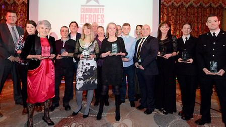 Last year's winners of the BBC Surrey Community Heroes awards convene for their picture