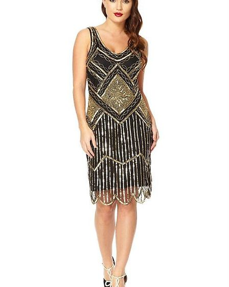 This stunning black and gold flapper dress is priced from £75
