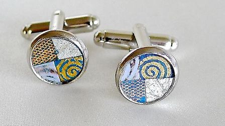 These cufflinks, with blue & silver paper inlay, by Helyne Jennings are priced from £25