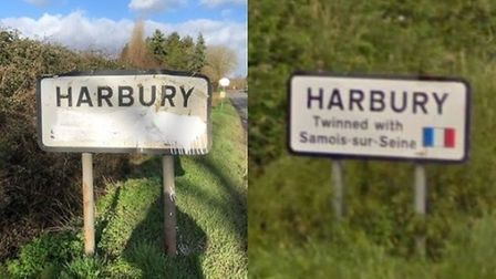 The Harbury village sign was defaced on January 31st (left). Right is the original version on Google