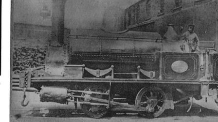 A Devon Great Consols railway engine on the tack from its mine to Morwellham