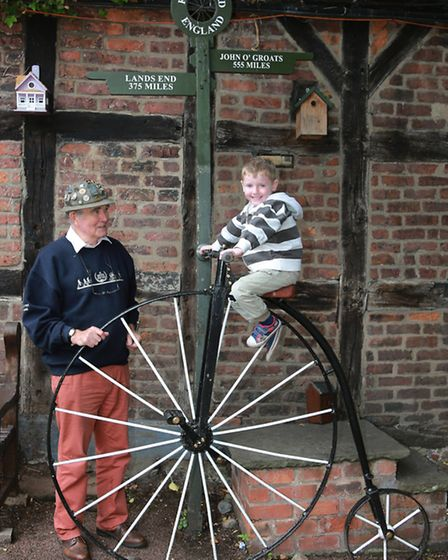 Penny Farthing expert Glynn Stockdale and a young enthusiast in the shape of four-years-old Jack Hef