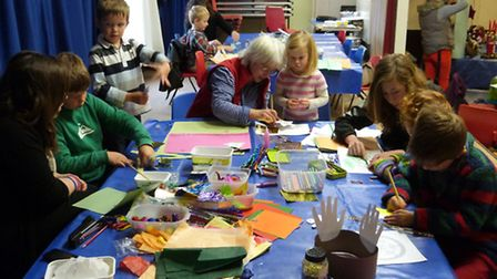 Children's craft activity area in action