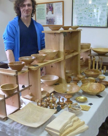 Ben Boyland and some of his beautiful wooden pieces available at 'Benjamin's Barn'.