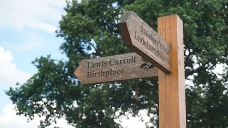 A signpost near to the National Trust birthplace of Lewis Carroll
