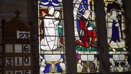 Alice themed stained glass window at All Saints' Church