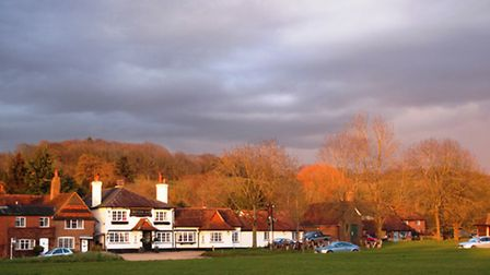 The view to the hills past The Red Lion