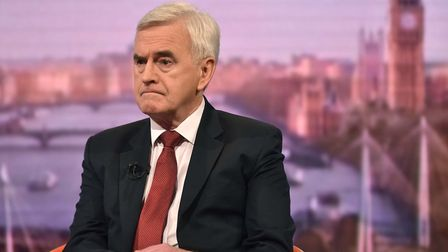 Shadow Chancellor John McDonnell on the Andrew Marr Show. Photograph: Jeff Overs/BBC/PA Wire.