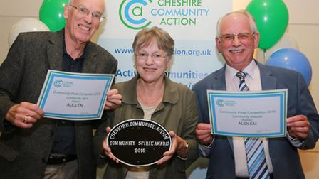 The Community Spirit Best Website Award went to Audlem. (L-R) Councillors Geoff and Pam Seddon and