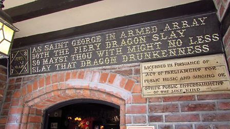Inscription in the porch of the George and Dragon pub, Great Budworth