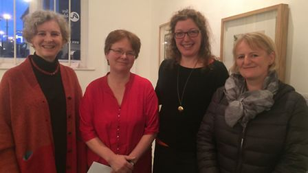 Surrey Artist of the Year winner Christiane Zschommler (second from left) with Norma Corkish, Caroli