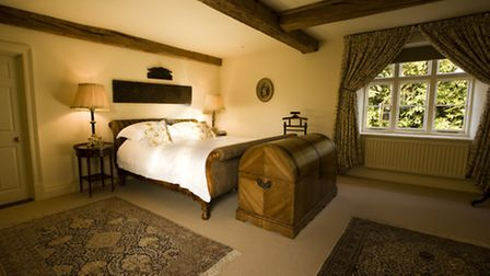 One of ten bedrooms at Dewsall Court
