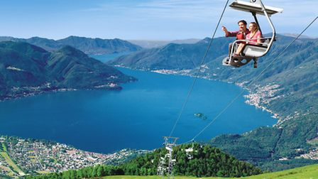 A panoramic view of Lake Maggiore from the chairlift on Cardada Cimetta