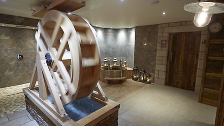 The Mill Wheel, which cascade water onto spa users at the pull of chain: beware though, it's as like