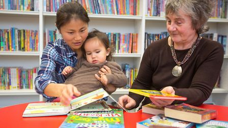 Mother and child at Maidstone Library