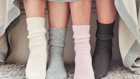 Cashmere bed socks will keep you cosy at night, available in a range of soft pastels, £35, The White