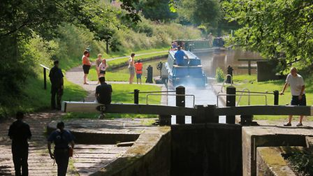 Shropshire Union Canal locks at Audlem Mill