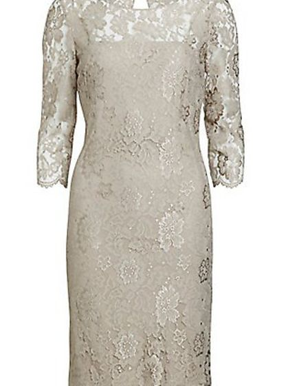 Gina Bacconi Scallop Flower Lace Dress in beige £250.00, John Lewis