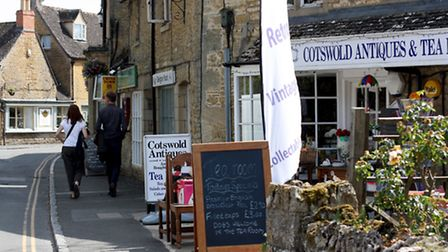 Bourton has interlocking back streets with antiques and restaurants