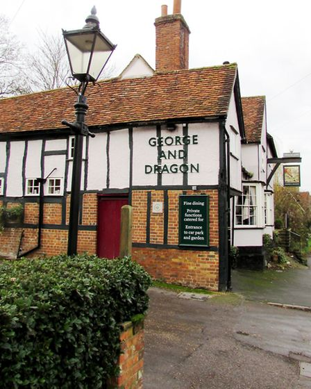 The rustic, cosy George and Dragon pub at Watton-at-Stone