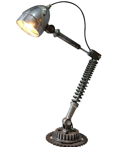 Vintage bicycle parts desk lamp £156, The Orchard