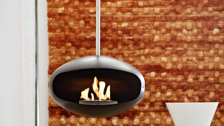 Space age eco: the Aeris hanging fire from Cocoon Fires is a flueless bioethanol fire so doesn't nee
