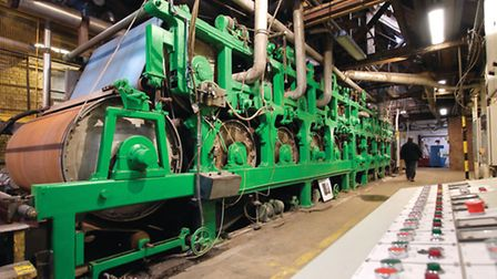 One of the two Fourdrinier presses - still producing 100 tonnes of paper each year