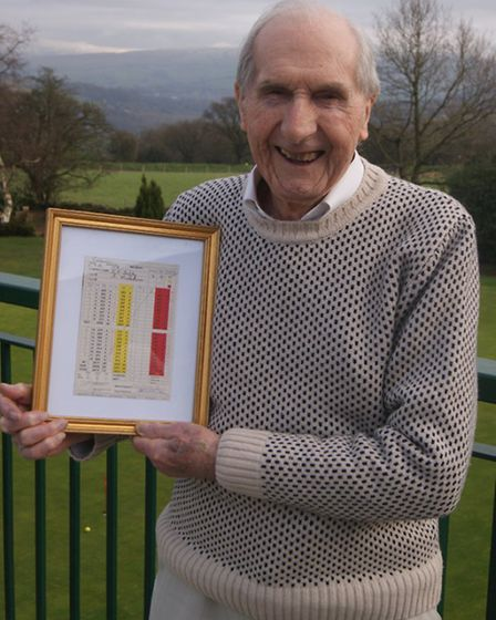 Sid pictured on the Disley balcony, 2 Sid with his framed Israel Sidebottom Trophy winning card