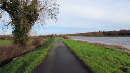 The long straight riverside path back to Chester