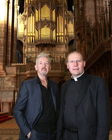 Sculptor, David Mach , at Chester Cathedral with vice-dean, Canon Peter Howell-Jones