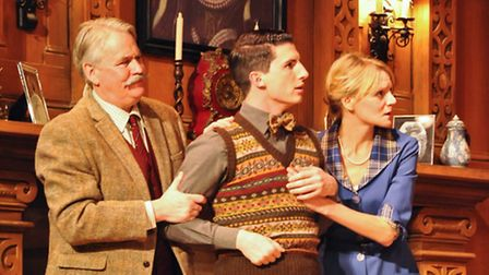 Tony Boncza (Major Metcalf) Oliver Gully (Christopher Wren) and Anna Andresen (Mollie Ralston) in Th