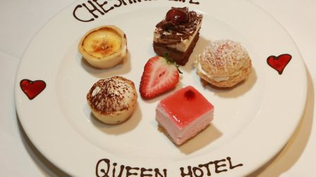 An assiette of five individual desserts