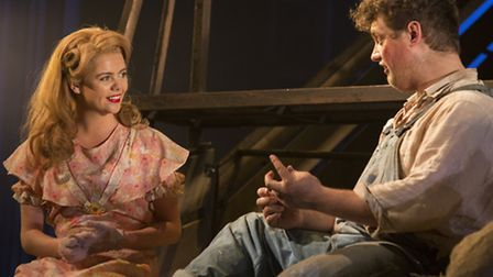 Saoirse-Monica Jackson (Curley's wife), and Kristian Phillips (Lennie) in Of Mice and Men