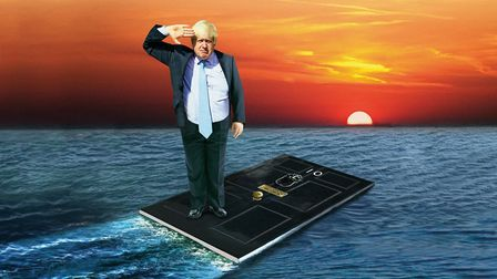 Boris Johnson's response to the floods was considered cowardly. Illustration: Chris The Barker/PA.