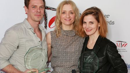 Anne-Marie Duff (centre) with Best Actor in a Visiting Production, Joe Armstrong, and Best Actress i